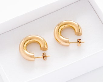 Chunky Gold Hoops (size S) - Goldplated Silver Small Hoop Earrings