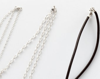 Sterling Silver Rolo Chains 925 and Leather Rawhides for Pendats and Necklaces - Adjustable Length with closure