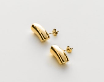 Gold Small Thick Hoops - Stud Tube Earrings - Sterling Silver