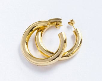 Handmade Gold-plated Large Thick Hoop Earrings (size L)
