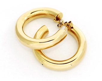 Thick Gold Hoop Earrings (size M) - Handmade Large 1 Inch Hoops