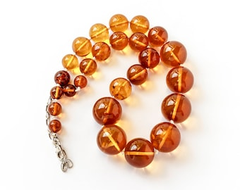 Genuine Amber Beads, Big Amber Necklace Adult - Baltic Amber Ball - Amber Stone Necklace - Amber Jewelry - Cherry Amber Spheres - Large Bead
