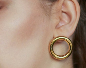 Endless Thick Hoop Earrings (size M) - Goldplated Silver Large Gold Hoops