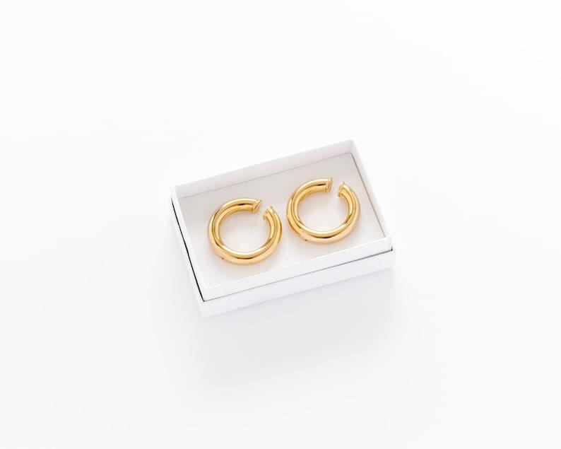 size M Hoop Ear Cuffs - Gold Ear Cuffs 1 Inch Hoops