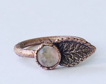 Copper Leaf and Rainbow Moonstone Ring, Size 6.25 // Electroformed, Pure Copper // Leaf Ring