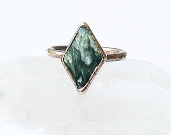 Seraphinite and Copper Ring, Size 8.5 // Electroformed Copper // Natural Stone