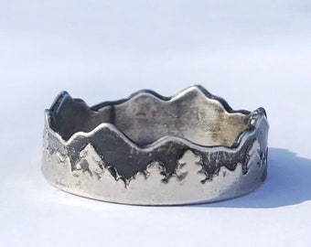 Fine Silver Mountain Range and Tree Line Ring, Size 12 // Copper Electroformed, Electroplated Silver // Handcrafted Ring