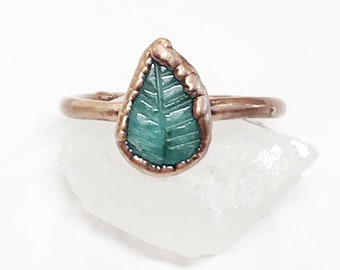 Hand Carved Emerald Leaf and Copper Ring, Size 9.75 // Electroformed, Pure Copper // Natural Stone, Birthstone