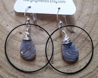 Crazy Lace Agate Hoop Earrings with Surgical Steel French Ear Wires // Hand Drilled and Wrapped // Stone Earrings
