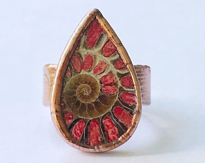 Ancient Ammonite and Red Coral Filled Copper Ring, Size 7 // Electroformed, Pure Copper // Fossils, Hand Stamped Band