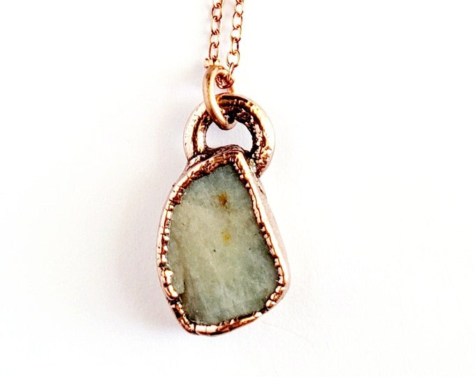 Raw Amazonite Necklace // Electroformed Jewelry // Soldered Copper Chain