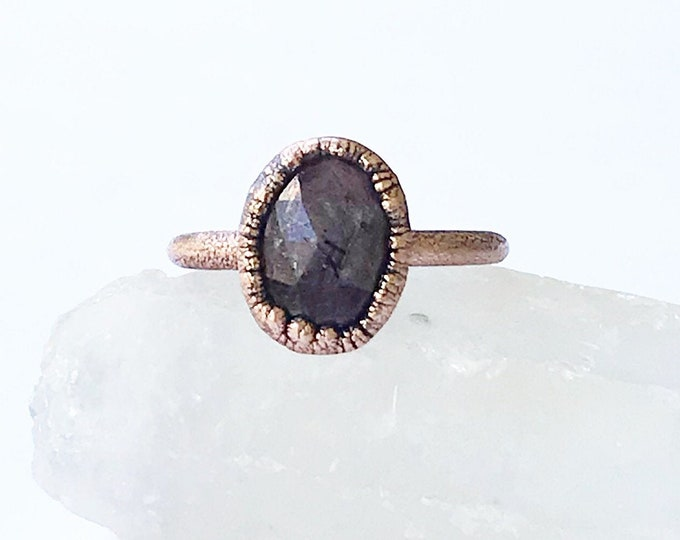 Electroformed Copper and Rose Cut Ruby Ring, Size 9 // Pure Copper, Natural, July Birthstone