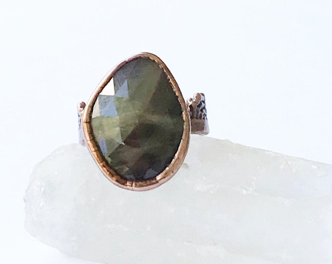 Faceted Bi Color Sapphire and Copper Ring, Size 9 // Electroformed, Pure Copper // Spiderweb Band Design
