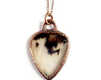 Dendritic Agate Guitar Pick Necklace // Electroformed Copper // Soldered Copper Chain, Musicians