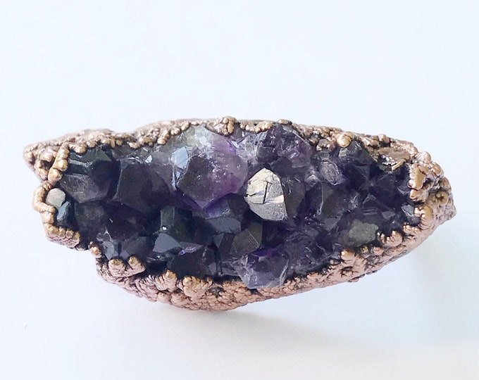 Amethyst Cluster Three Finger Ring, Knuckle Duster // Electroformed, Pure Copper // Natural Stone