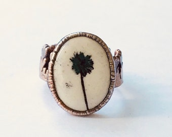 Pressed Flower Ceramic and Copper Ring, Size 10 // Electroformed, Pure Copper // Tulip Ring Band, 24K Gold and Silver Plating