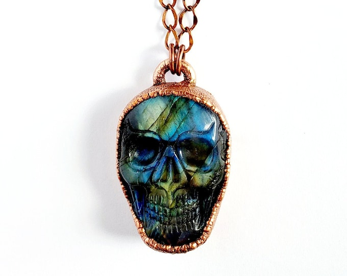 Carved Labradorite Skull Necklace // Electroformed Copper // Soldered Copper Chain // Gemstones, Cabochon, Energy