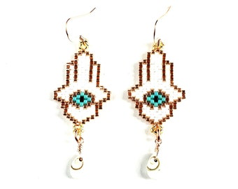 Beaded Hamsa Hand Earrings with Shiva Eye Shells // Rose Gold Ear Wires // Protection, Natural Stone, Shell