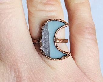 Antique Copper Amethyst Crescent Moon Ring, Size 6 // Electroformed, Pure Copper // Goddess, Moonchild