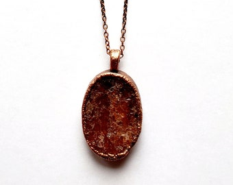 Raw Sunstone and Copper Necklace // Electroformed, Soldered Copper Chain