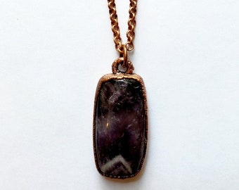 Calming Chevron Amethyst and Warm Copper Necklace // Electroformed, Soldered Copper Chain // February Birthstone, Gemstone