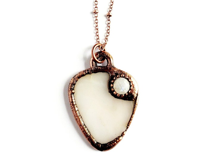 Creamy Moonstone Stone Guitar Pick Necklace // Electroformed Copper // Rainbow Moonstone Accent, Soldered Copper Chain, Musicians