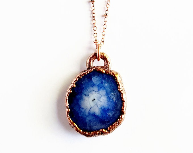 Blue Solar Quartz Druzy Necklace // Electroformed Copper // Soldered Copper Chain