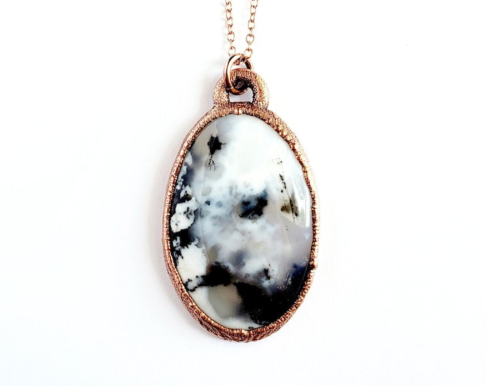 Dendrite Opal Necklace // Electroformed Copper Jewelry // Soldered Copper Chain // Rocks and Minerals