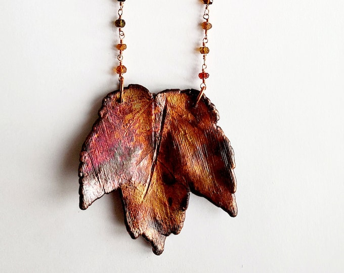 Iridescent Copper Electroformed Maple Leaf Necklace // Tourmaline Beaded Chain // Trees, Nature