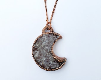 Electroformed Copper Druzy Crescent Moon // Soldered Copper Chain // Goddess, Moonchild