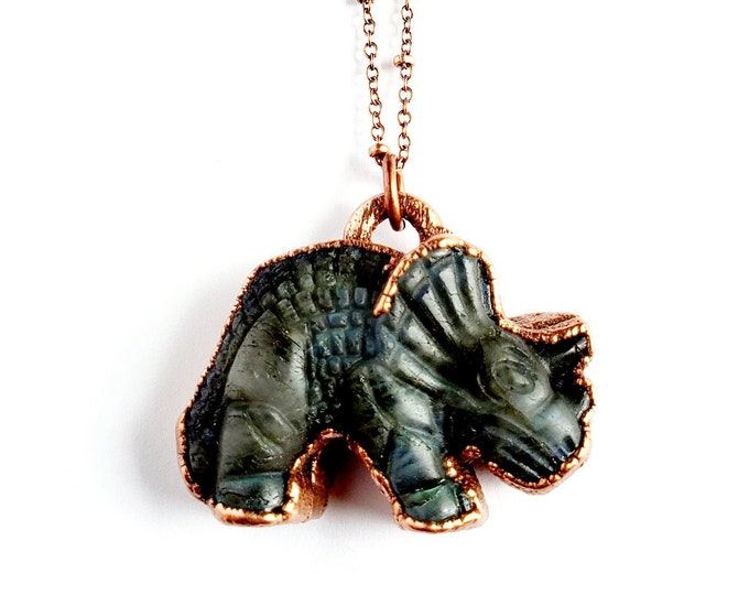 Electroformed Carved Labradorite Triceratops Necklace // Soldered Copper Chain // Gemstones, Cabochon, Energy