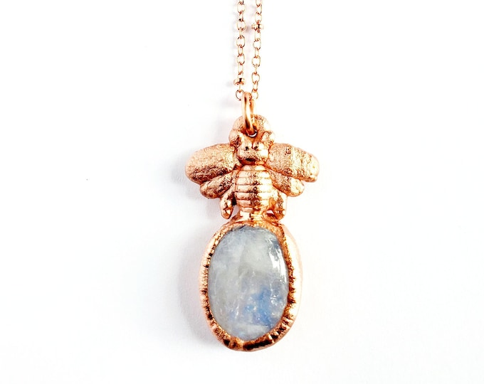 Copper Bee and Rainbow Moonstone Necklace // Electroformed, Soldered Copper Chain // Gemstones, Honeybees, Honey Bee, Flash