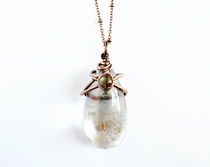 Lodolite and Labradorite Necklace // Electroformed Jewelry // Soldered Copper Chain // Crystals, Gemstones