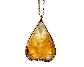 Citrine Planchette Necklace // Electroformed Jewelry // Soldered Copper Chain // Metaphysical, Crystals
