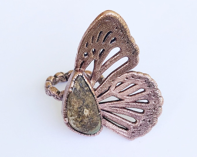 King's Manassa Turquoise Butterfly Wing Ring, Size 8.75 // Electroformed Copper // Natural Stone, Statement Ring