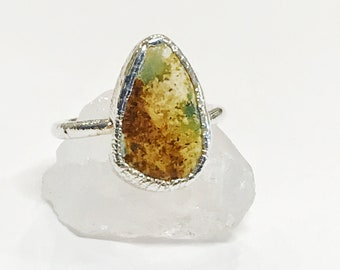 Brilliant Carico Lake Turquoise and Fine Silver Ring, Size 7 // Electroformed, Copper and Silver // Southwest