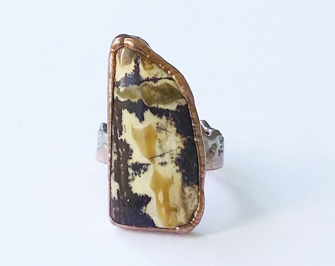 Sonora Dendritic Jasper and Copper Ring, Size 9 // Electroformed, Pure Copper // Silver Mountains and Copper Tree Line Band