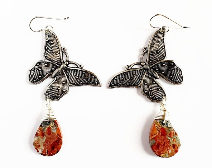 Butterfly and Maligano Jasper Drop Earrings // Silver Filled Ear Hooks // Genuine Stones, Hand Drilled, Hand Wrapped