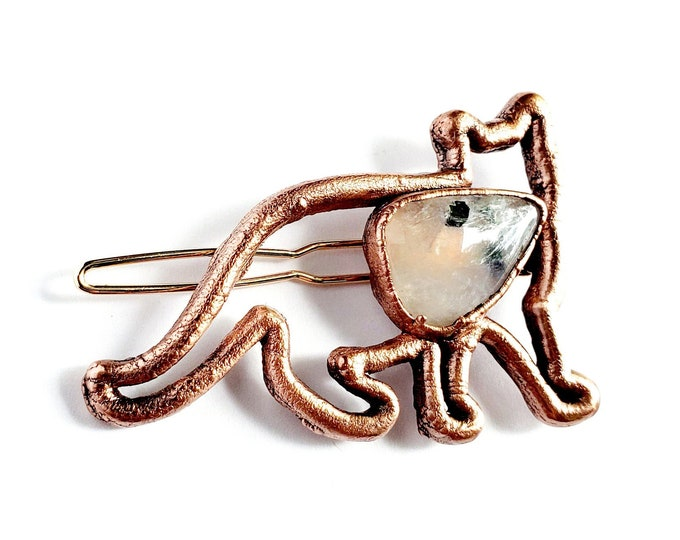 Copper Cat and Rainbow Moonstone Hair Clip // Electroformed Copper, Barrette, Cats