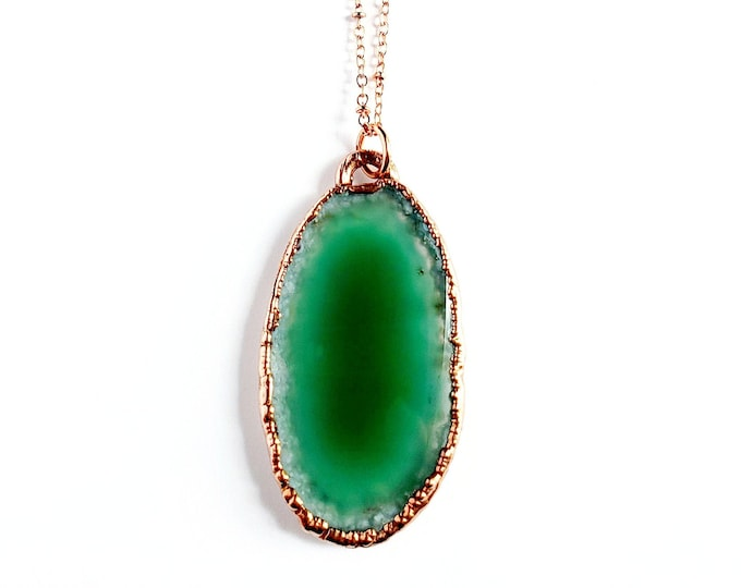 Emerald Green Agate Necklace // Electroformed Jewelry // Soldered Copper Chain