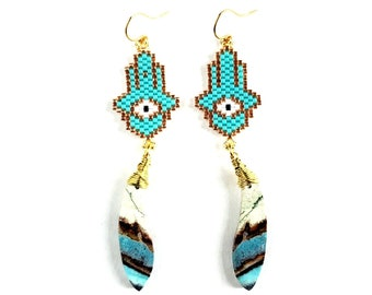 Beaded Hamsa Hand Earrings with Vibrant Jasper // Gold Filled Ear Wires // Protection, Natural Stone
