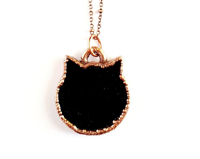 Obsidian Cat Necklace // Electroformed Jewelry // Soldered Copper Chain