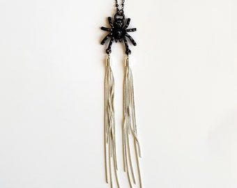 Sleek Gunmetal Spider with Silver Plated Web Shimmering Tassels  // Electroformed Copper, Gunmetal Chain // Insects, Bugs
