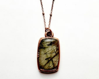 Rutilated Quartz and Copper Necklace // Electroformed, Copper // Crystals, Open Back