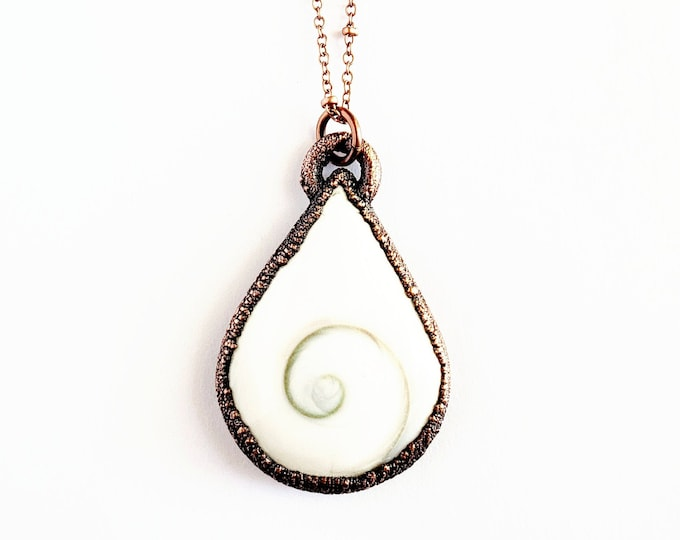 Shiva Eye Shell Necklace // Electroformed Jewelry // Soldered Copper Chain