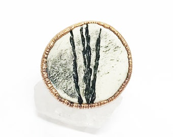 Pressed Willow Ceramic and Copper Ring, Size 7 // Electroformed, Pure Copper, Wide Band Ring, Statement Ring, Pottery