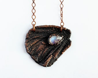 Ethically Sourced Monarch Butterfly Wing with Rainbow Moonstone Necklace // Electroformed Copper // Soldered Copper Chain