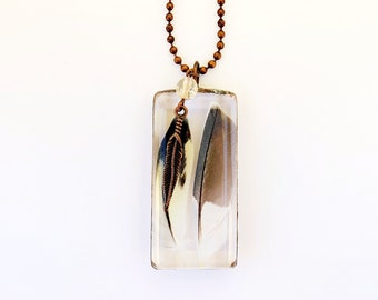 Glass Pendant Featuring Naturally Shed Parakeet Feathers with Citrine and Copper Feather Beads // Cruelty Free