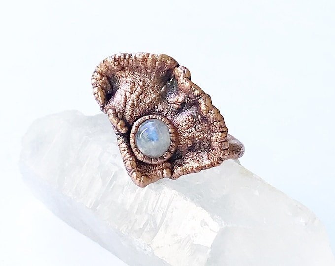Brilliant Tree Bracket and Rainbow Moonstone Ring, Size 8.25 // Electroformed, Pure Copper // Mushroom, Fungi