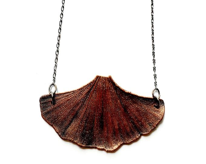 Antique Copper Electroformed Ginkgo Leaf Necklace // Soldered Gunmetal Chain // Mother Nature